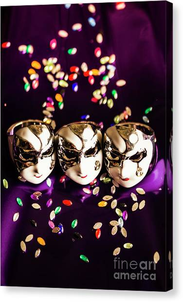 Traditional Canvas Print - Carnival Mask Jewelry On Purple Background by Jorgo Photography - Wall Art Gallery