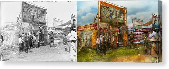 Burmese Pythons Canvas Print - Carnival - Wild Rose And Rattlesnake Joe 1920 - Side By Side by Mike Savad