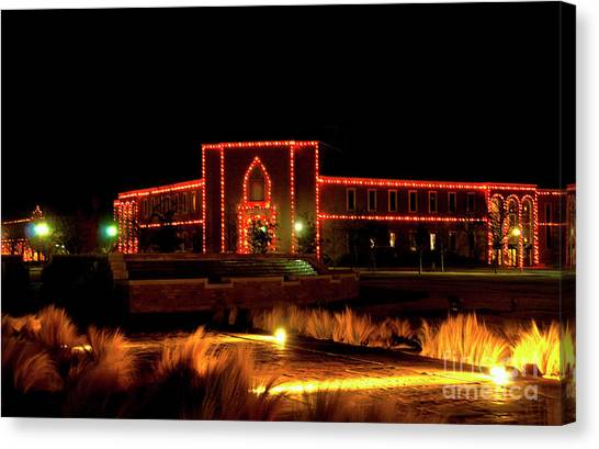 Texas Tech University Canvas Print - Carol Of Lights At Science Building by Mae Wertz