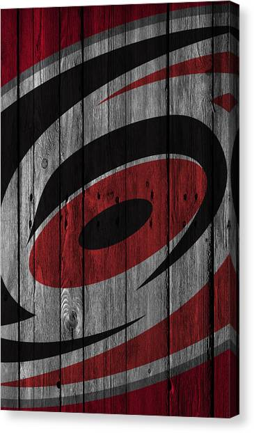 Carolina Hurricanes Canvas Print - Carolina Hurricanes Wood Fence by Joe Hamilton