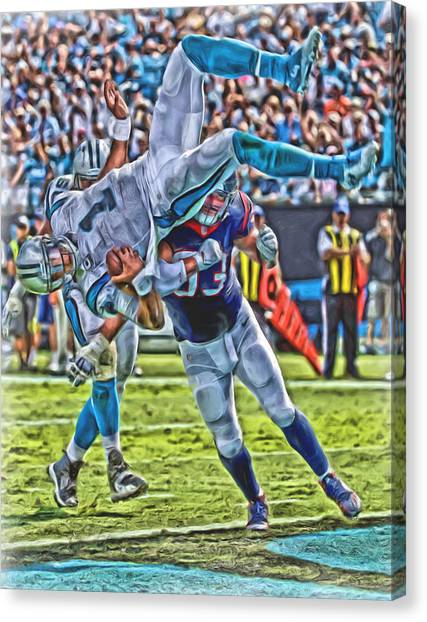 Cam Newton Canvas Print - Carolina Panthers Cam Newton Oil Art by Joe Hamilton
