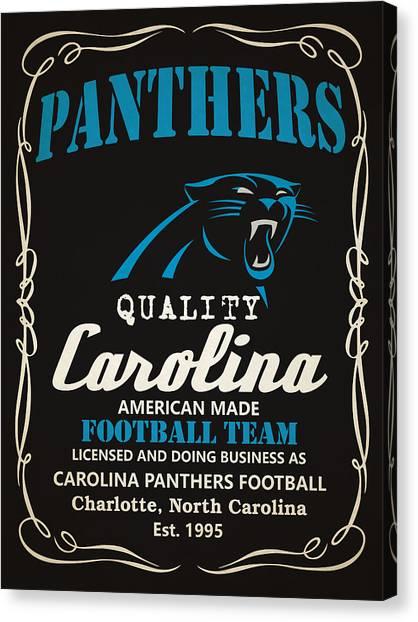 Carolina Panthers Canvas Print - Carolina Panthers Whiskey by Joe Hamilton