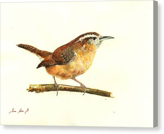Wrens Canvas Print - Carolina Wren Watercolor Painting by Juan  Bosco