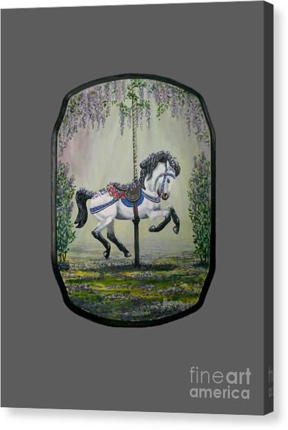 Carousel Garden The White Buckskin Stallion Canvas Print