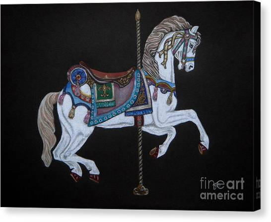 Carousel Horse Canvas Print by Yvonne Johnstone