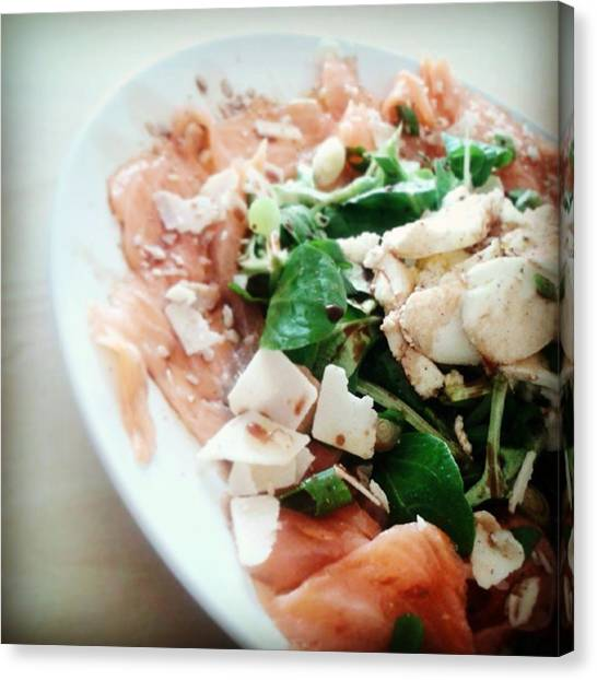Salad Dressing Canvas Print - Carpaccio Inspired Smoked Salmon Salad by Smitsi Batty