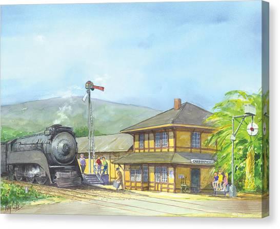 Ray Cole Canvas Print - Carpinteria Train Depot by Ray Cole
