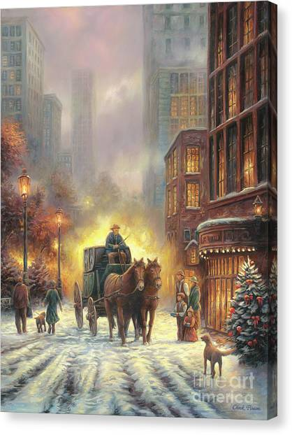 Christmas Lights Canvas Print - Carriage Ride by Chuck Pinson