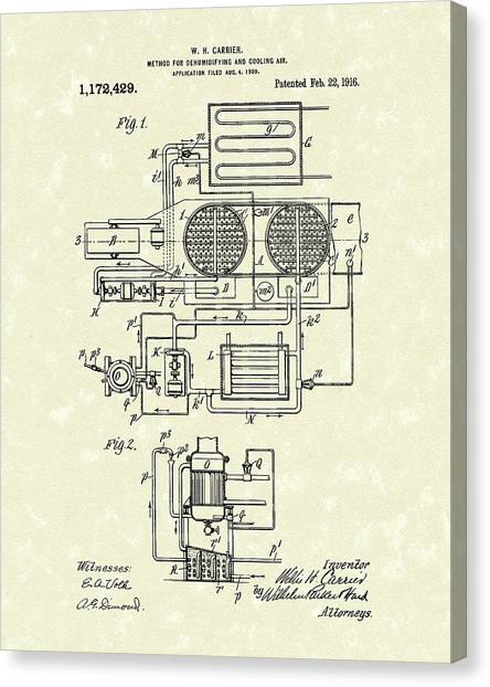 Canvas Print featuring the drawing Carrier Air Conditioner 1916 Patent Art by Prior Art Design