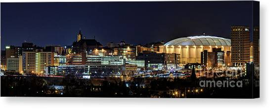 Carrier Dome And Syracuse Skyline Panoramic View Canvas Print