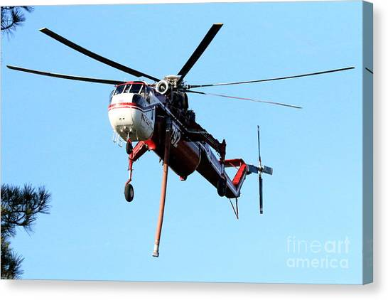 Skycrane Canvas Print - Carrying A Heavy Load by Craig Corwin