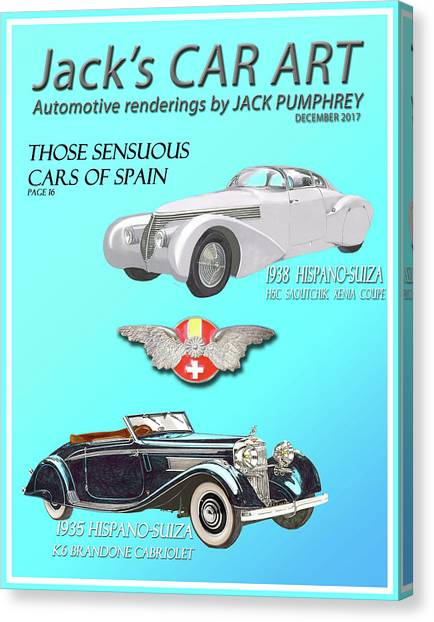 Canvas Print - Cars Of Spain Magazine Cover by Jack Pumphrey