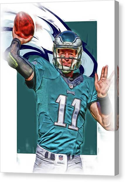 Philadelphia Eagles Canvas Print - Carson Wentz Philadelphia Eagles Oil Art 2 by Joe Hamilton