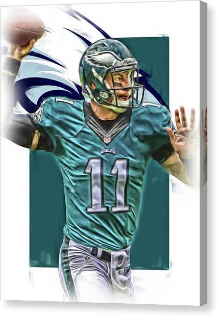 Nfc Canvas Print - Carson Wentz Philadelphia Eagles Oil Art by Joe Hamilton