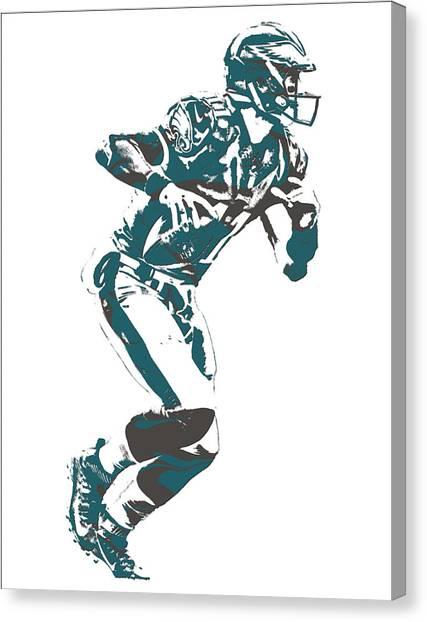 Philadelphia Eagles Canvas Print - Carson Wentz Philadelphia Eagles Pixel Art 10 by Joe Hamilton