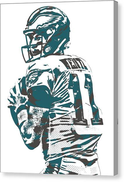Philadelphia Eagles Canvas Print - Carson Wentz Philadelphia Eagles Pixel Art 9 by Joe Hamilton