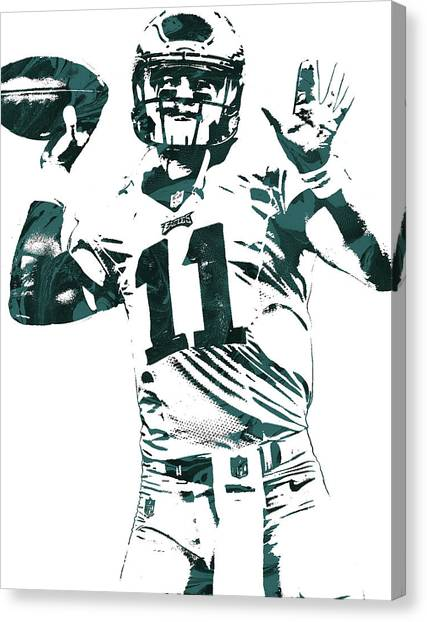 Philadelphia Eagles Canvas Print - Carson Wentz Philadelphia Eagles Pixel Art by Joe Hamilton