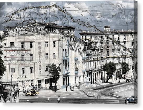 Carte Isle De Cuba Canvas Print