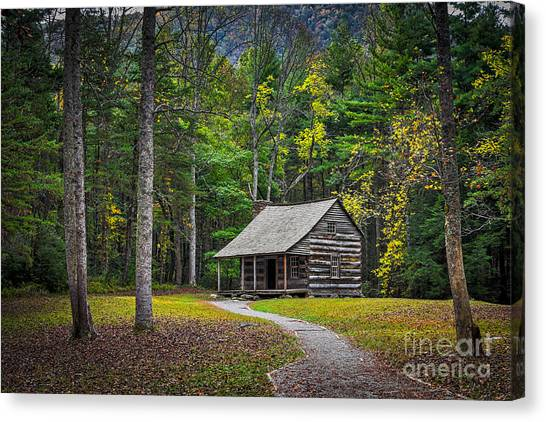Canvas Print featuring the photograph Carter Shields Cabin In Cades Cove Tn Great Smoky Mountains Landscape by T Lowry Wilson