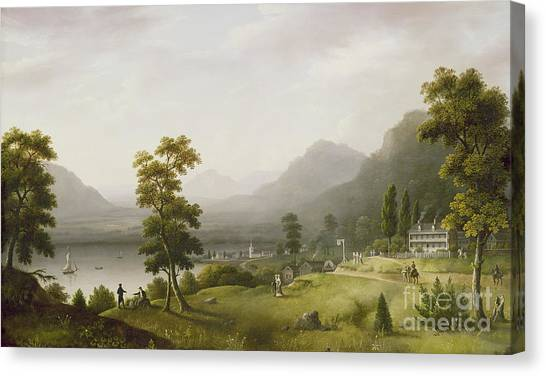 Hill Canvas Print - Carter's Tavern At The Head Of Lake George by Francis Guy