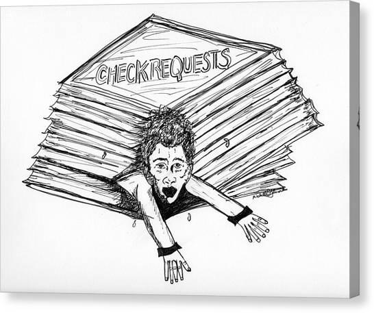 Cartoon Check Requests Canvas Print