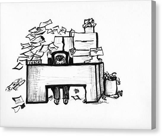Cartoon Desk Canvas Print