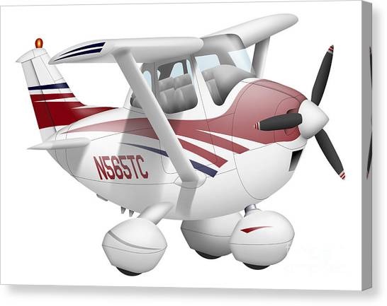 Cessnas Canvas Print - Cartoon Illustration Of A Cessna 182 by Inkworm