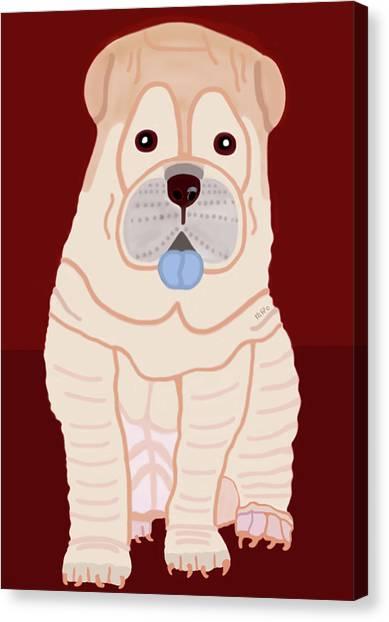 Canvas Print featuring the painting Cartoon Shar Pei by Marian Cates