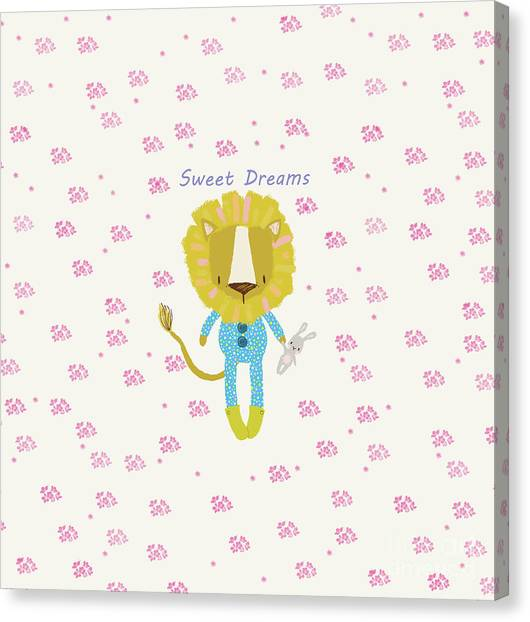 Cartoon Sweet Dreams Lion Canvas Print