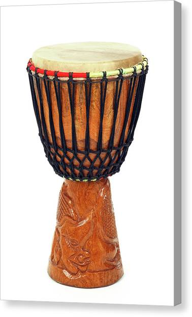 Musical Instruments Canvas Print - Carved African Djembe Drum by GoodMood Art