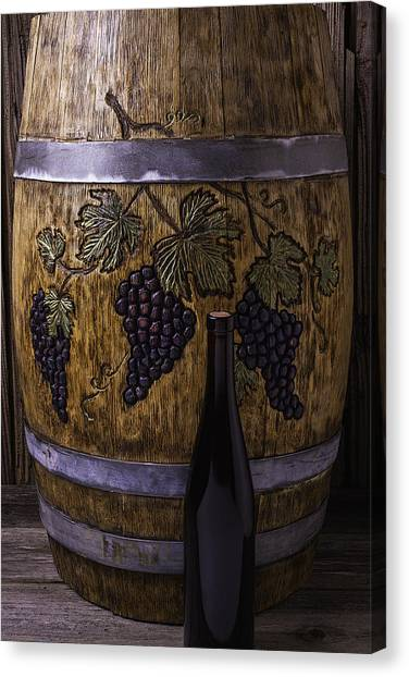 Wine Barrels Canvas Print - Carved Grapes On Wine Barrel by Garry Gay
