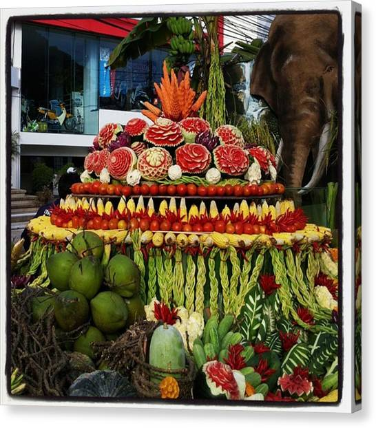 Canvas Print featuring the photograph Carved Watermelon, Surin Elephant by Mr Photojimsf