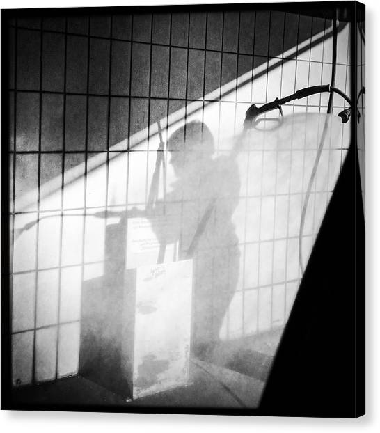 White Canvas Print - Carwash Shadow And Light by Matthias Hauser