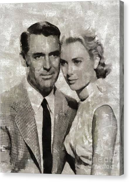 Grace Kelly Canvas Print - Cary Grant And Grace Kelly, Hollywood Legends by Mary Bassett