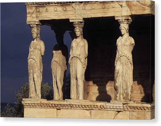 Caryatides At The Acropolis Canvas Print