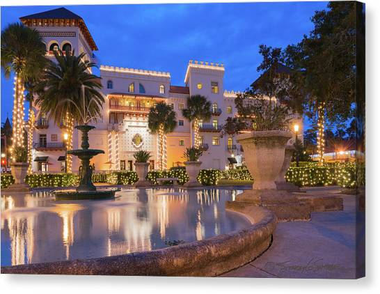 Casa Monica Hotel During Nights Of Lights Canvas Print