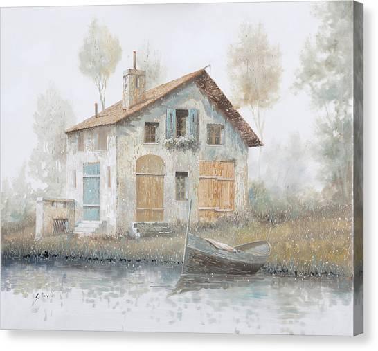 Fog Canvas Print - Casa Pallida Nella Nebbia by Guido Borelli