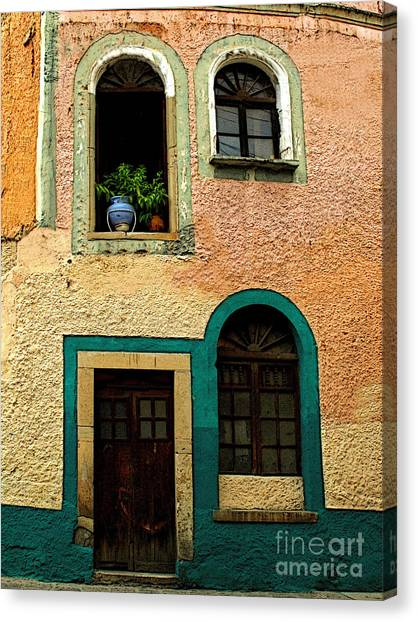 Casa With Sea Green Canvas Print by Mexicolors Art Photography