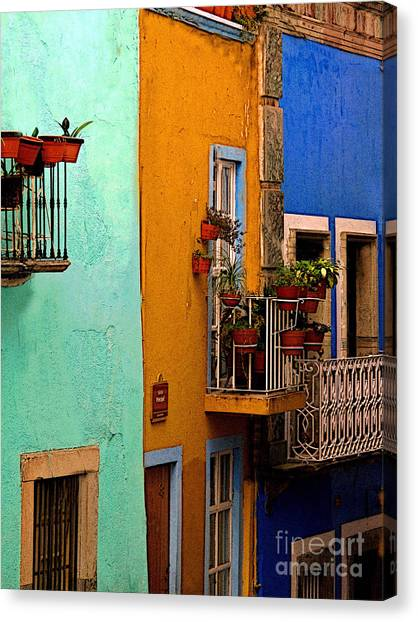 Casas In Mint Terracotta And Blue Canvas Print by Mexicolors Art Photography