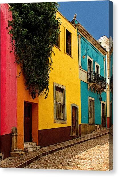 Casas In Pink Orange Yellow Blue Canvas Print by Mexicolors Art Photography