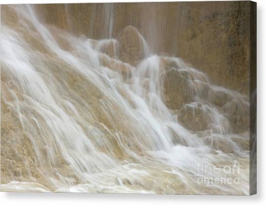 Cascade By The Limestone Pools In Huanglong Canvas Print by Julia Hiebaum