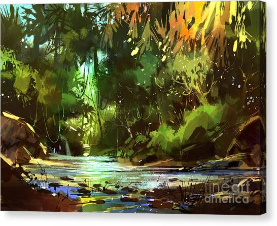 Canvas Print featuring the painting Cascades In Forest by Tithi Luadthong