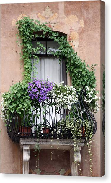 Cascading Floral Balcony Canvas Print