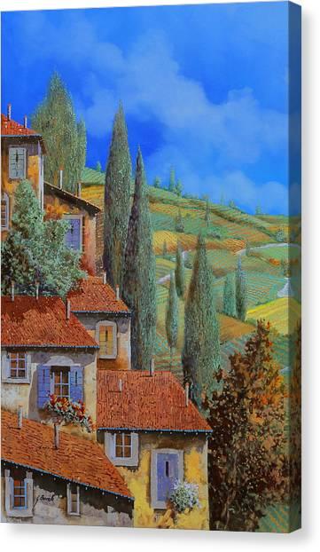 Villages Canvas Print - Case Appoggiate by Guido Borelli