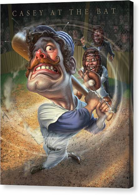 Catchers Canvas Print - Casey At The Bat by Mark Fredrickson
