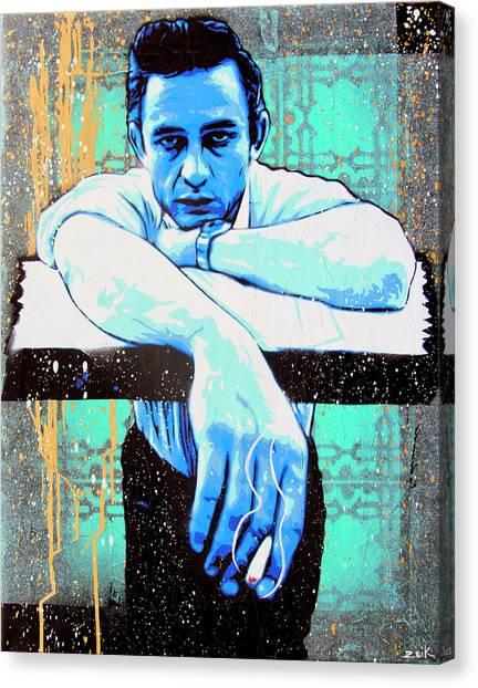 Johnny Cash Canvas Print - Cash - Preacher Man  by Bobby Zeik