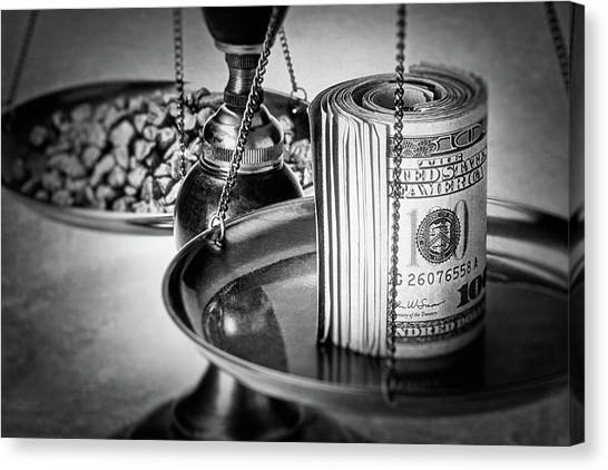 Money Canvas Print - Cash Versus Gold by Tom Mc Nemar