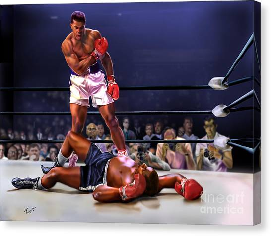 Muhammad Ali Canvas Print - Cassius Clay Vs Sonny Liston by Reggie Duffie