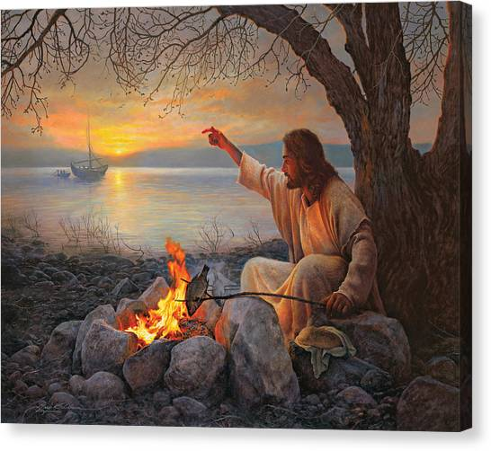 Sunset Canvas Print - Cast Your Nets On The Right Side by Greg Olsen