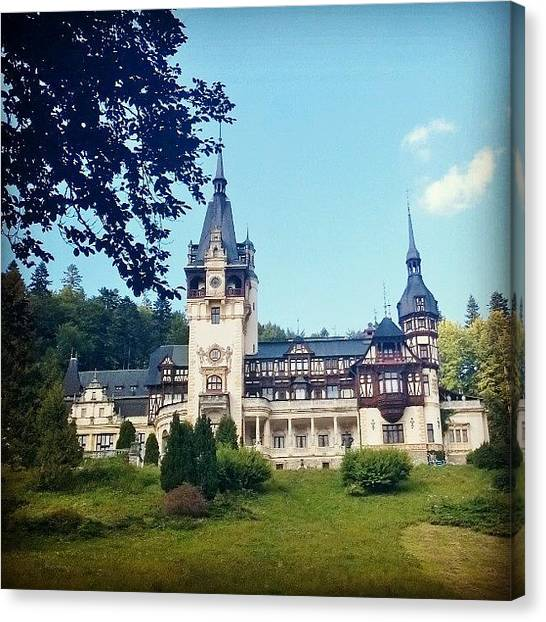 Soccer Players Canvas Print - Castello Peles Sinaia, #castello by Massimo Molino